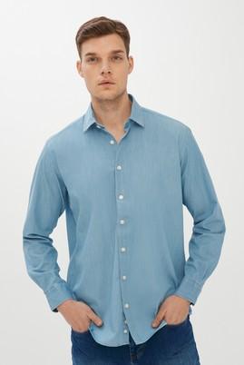 Erkek Giyim - AÇIK MAVİ XL Beden Uzun Kol Denim Gömlek