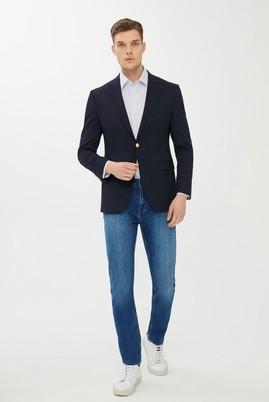 Erkek Giyim - KOYU LACİVERT 52 Beden Slim Fit Blazer Ceket