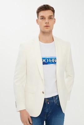 Erkek Giyim - KREM 48 Beden Klasik Yünlü Blazer Ceket
