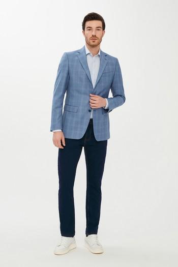 Erkek Giyim - Regular Fit Yünlü Ekose Ceket