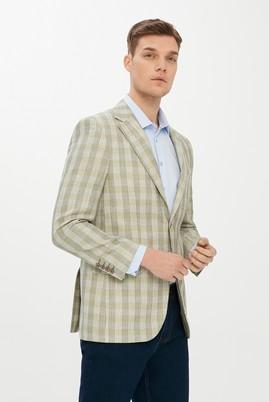 Erkek Giyim - Acık Yesıl 46 Beden Ekose Ceket