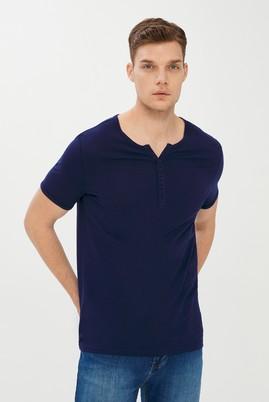 Erkek Giyim - ORTA LACİVERT L Beden Bisiklet Yaka Slim Fit Tişört