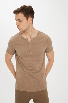 Erkek Giyim - KOYU VİZON S Beden Bisiklet Yaka Slim Fit Tişört