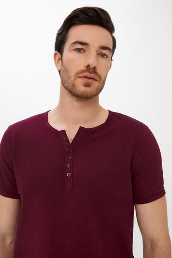 Erkek Giyim - Slim Fit Düğmeli Yaka Tişört
