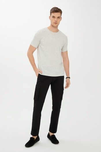 Erkek Giyim - Bisiklet Yaka Slim Fit Tişört