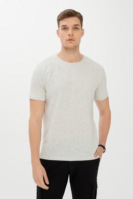 Erkek Giyim - AÇIK GRİ MELANJ S Beden Bisiklet Yaka Slim Fit Tişört