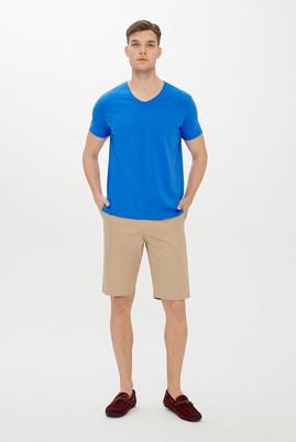 Erkek Giyim - KOBALT MAVİ 3X Beden V Yaka Regular Fit Tişört