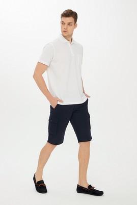 Erkek Giyim - LACİVERT 50 Beden Slim Fit Desenli Bermuda Şort