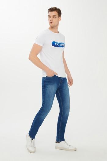 Erkek Giyim - Bisiklet Yaka Baskılı Süper Slim Fit Tişört