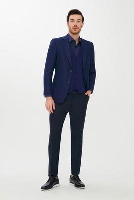 Erkek Giyim - KOYU MAVİ 50 Beden Regular Fit Yelekli Kombinli Kareli Takım Elbise