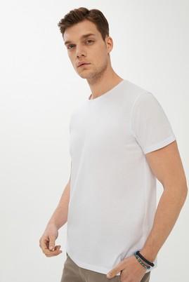 Erkek Giyim - BEYAZ XXL Beden Bisiklet Yaka Slim Fit Tişört