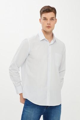 Erkek Giyim - BEYAZ M Beden Uzun Kol Çizgili Klasik Gömlek