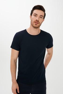 Erkek Giyim - LACİVERT XL Beden Bisiklet Yaka Slim Fit Tişört