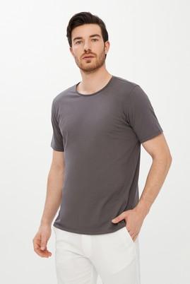 Erkek Giyim - ORTA GRİ L Beden Bisiklet Yaka Slim Fit Tişört