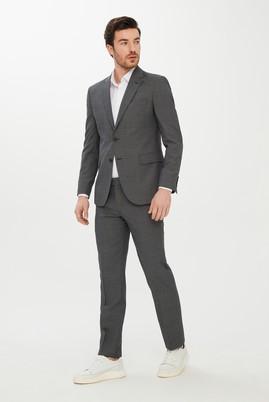 Erkek Giyim - SİYAH 48 Beden Slim Fit Kuşgözü Yünlü Takım Elbise