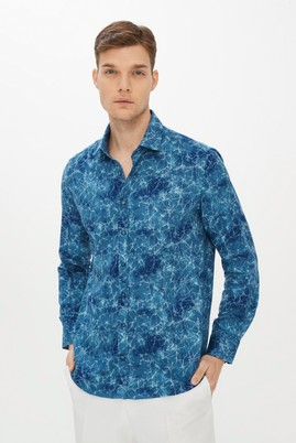 Erkek Giyim - TURKUAZ L Beden Uzun Kol Baskılı Slim Fit Gömlek