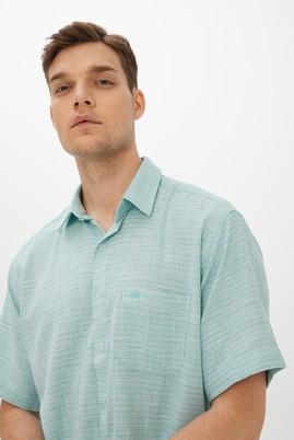 Erkek Giyim - MİNT YEŞİLİ M Beden Kısa Kol Desenli Klasik Gömlek