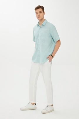 Erkek Giyim - MİNT YEŞİLİ M Beden Kısa Kol Regular Fit Desenli Gömlek