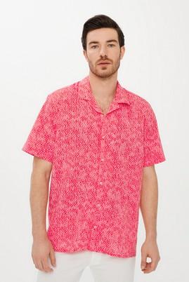 Erkek Giyim - MERCAN KIRMIZI XL Beden Kısa Kol Baskılı Spor Gömlek