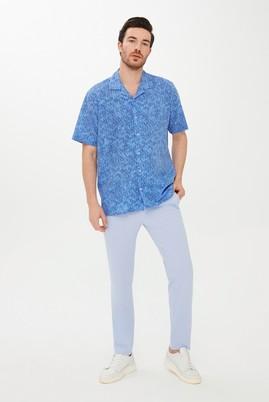 Erkek Giyim - MAVİ L Beden Kısa Kol Baskılı Spor Gömlek