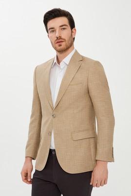 Erkek Giyim - AÇIK BEJ 50 Beden Desenli Klasik Ceket