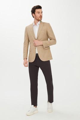 Erkek Giyim - AÇIK BEJ 50 Beden Klasik Desenli Ceket