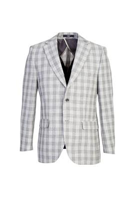 Erkek Giyim - AÇIK GRİ 52 Beden Klasik Ekose Ceket