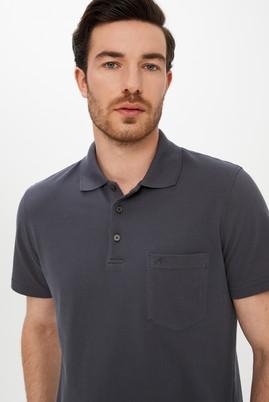 Erkek Giyim - ORTA GRİ M Beden Polo Yaka Regular Fit Tişört