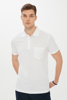Erkek Giyim - BEYAZ L Beden Polo Yaka Düz Regular Fit Tişört