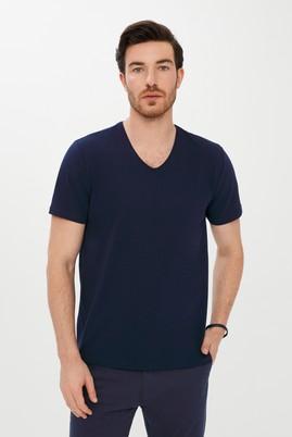 Erkek Giyim - KOYU LACİVERT M Beden V Yaka Regular Fit Tişört