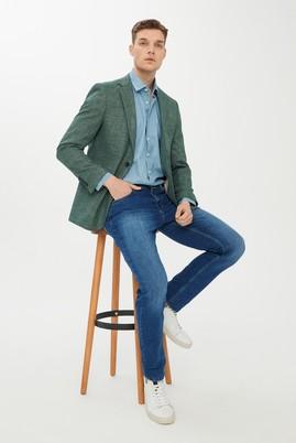 Erkek Giyim - KOYU YEŞİL 50 Beden Desenli Klasik Ceket