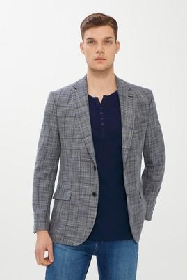 Erkek Giyim - ORTA LACİVERT 48 Beden Desenli Klasik Ceket