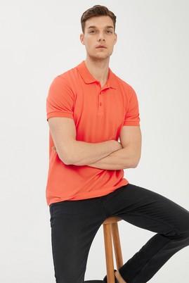 Erkek Giyim - MERCAN KIRMIZI 3X Beden Polo Yaka Slim Fit Tişört