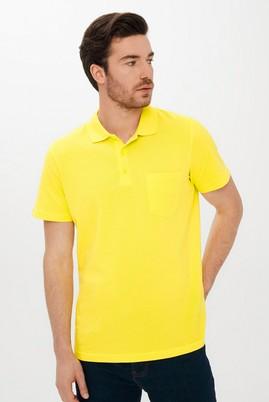 Erkek Giyim - LİMON SARI 3X Beden Polo Yaka Regular Fit Tişört