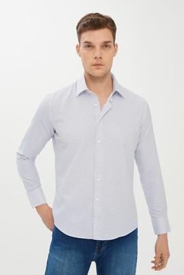 Erkek Giyim - Açık Mavi XXL Beden Uzun Kol Slim Fit Desenli Gömlek