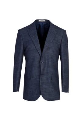 Erkek Giyim - ORTA LACİVERT 52 Beden Klasik Desenli Ceket