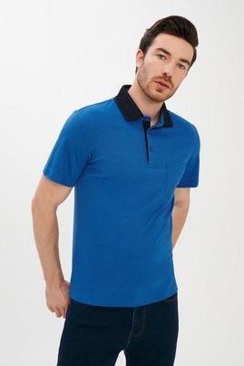 Erkek Giyim - MAVİ XL Beden Polo Yaka Çizgili Regular Fit Tişört
