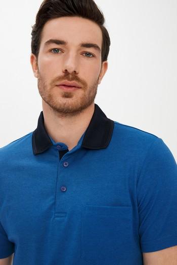 Erkek Giyim - Polo Yaka Çizgili Regular Fit Tişört