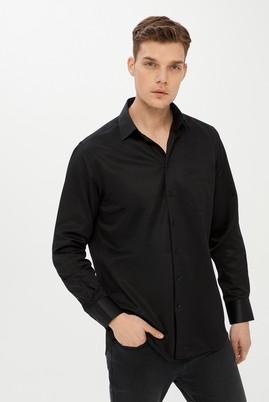 Erkek Giyim - SİYAH 3X Beden Uzun Kol Desenli Klasik Gömlek