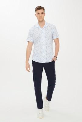 Erkek Giyim - UÇUK MAVİ XXL Beden Kısa Kol Desenli Slim Fit Gömlek