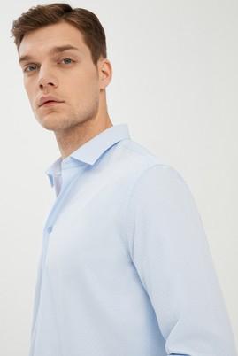 Erkek Giyim - UÇUK MAVİ L Beden Uzun Kol Desenli Slim Fit Gömlek