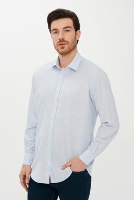 Erkek Giyim - Açık Mavi L Beden Uzun Kol Relax Fit Desenli Gömlek