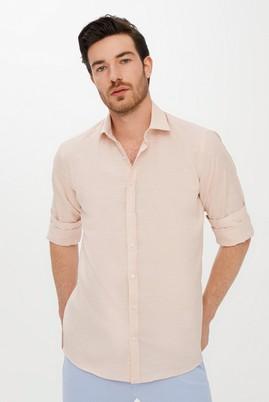 Erkek Giyim - AÇIK TURUNCU 3X Beden Uzun Kol Relax Fit Desenli Gömlek