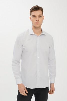 Erkek Giyim - SİYAH L Beden Uzun Kol Desenli Slim Fit Gömlek
