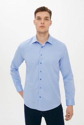 Erkek Giyim - AÇIK MAVİ L Beden Uzun Kol Desenli Slim Fit Gömlek