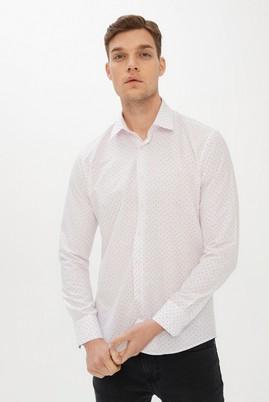 Erkek Giyim - BEYAZ XXL Beden Uzun Kol Slim Fit Desenli Gömlek