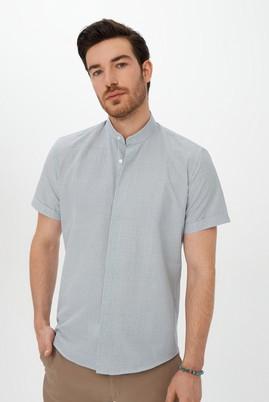 Erkek Giyim - Açık Mavi L Beden Kısa Kol Slim Fit Desenli Gömlek