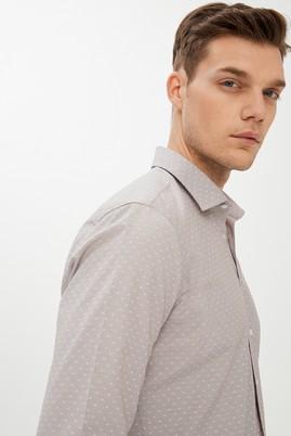 Erkek Giyim - ORTA KAHVE S Beden Uzun Kol Desenli Slim Fit Gömlek