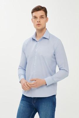 Erkek Giyim - AQUA MAVİSİ L Beden Uzun Kol Desenli Slim Fit Gömlek