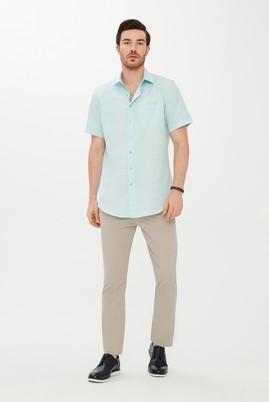 Erkek Giyim - ORTA TURKUAZ 4X Beden Kısa Kol Desenli Klasik Gömlek